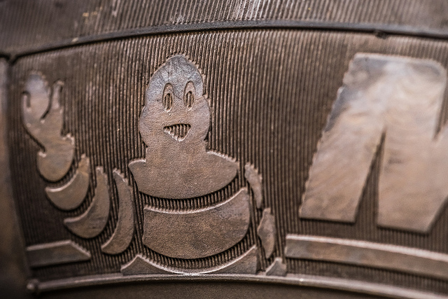 Close-up of a Michelin tire.